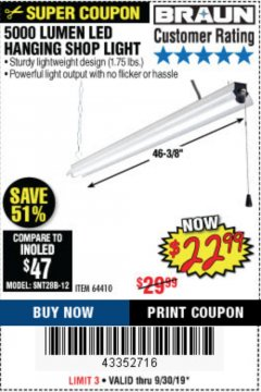 Harbor Freight Coupon 5000 LUMEN LED HANGING SHOP LIGHT Lot No. 64410 Valid Thru: 9/30/19 - $22.99