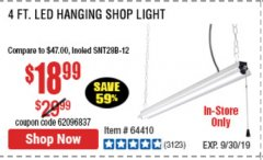 Harbor Freight Coupon 5000 LUMEN LED HANGING SHOP LIGHT Lot No. 64410 Valid Thru: 9/30/19 - $18.99