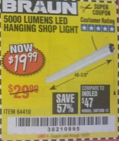 Harbor Freight Coupon 5000 LUMEN LED HANGING SHOP LIGHT Lot No. 64410 Valid Thru: 1/9/20 - $19.99
