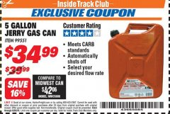 Harbor Freight ITC Coupon 5 GALLON JERRY CAN Lot No. 60402/99551 Expired: 6/30/18 - $34.99