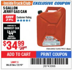Harbor Freight ITC Coupon 5 GALLON JERRY CAN Lot No. 60402/99551 Expired: 7/2/19 - $34.99