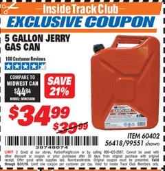 Harbor Freight ITC Coupon 5 GALLON JERRY CAN Lot No. 60402/99551 Expired: 8/31/19 - $34.99