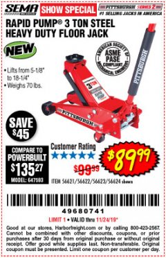 Harbor Freight Coupon RAPID PUMP 3 TON STEEL HEAVY DUTY FLOOR JACK Lot No. 56621/56622/56623/56624 Expired: 11/24/19 - $89.99