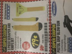 Harbor Freight Coupon 3 PIECE SCRAPER AND KNIFE SET Lot No. 34866 Expired: 9/30/19 - $0.79