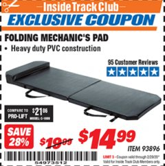 Harbor Freight ITC Coupon FOLDING MECHANIC'S PAD Lot No. 93896 Valid: 2/1/20 - 2/29/20 - $14.99