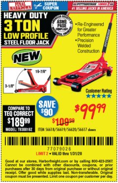 Harbor Freight Coupon RAPID PUMP 3 TON STEEL HEAVY DUTY LOW PROFILE FLOOR JACK Lot No. 56618/56619/56620/56617 Expired: 1/31/20 - $99.99
