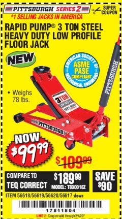 Harbor Freight Coupon RAPID PUMP 3 TON STEEL HEAVY DUTY LOW PROFILE FLOOR JACK Lot No. 56618/56619/56620/56617 Expired: 2/4/20 - $99.99