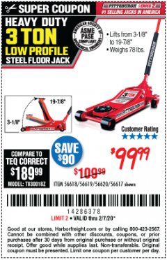 Harbor Freight Coupon RAPID PUMP 3 TON STEEL HEAVY DUTY LOW PROFILE FLOOR JACK Lot No. 56618/56619/56620/56617 Expired: 2/7/20 - $99.99