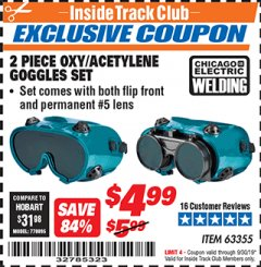 Harbor Freight ITC Coupon 2 PIECE OXY/ACETYLENE GOGGLES SET Lot No. 63355 Valid Thru: 9/30/19 - $4.99