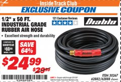 "Harbor Freight ITC Coupon 1/2"" X 50 FT. INDUSTRIAL GRADE RUBBER AIR HOSE Lot No. 30267; 62882; 62888 Expired: 3/31/20 - $24.99"