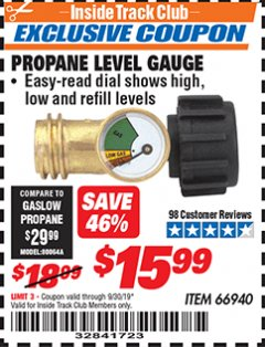 Harbor Freight ITC Coupon PROPANE LEVEL GAUGE Lot No. 66940 Expired: 9/30/19 - $15.99