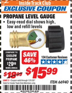 Harbor Freight ITC Coupon PROPANE LEVEL GAUGE Lot No. 66940 Expired: 1/31/20 - $15.99