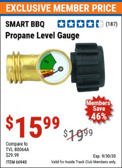 Harbor Freight ITC Coupon PROPANE LEVEL GAUGE Lot No. 66940 Valid Thru: 9/30/20 - $15.99