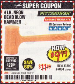 Harbor Freight Coupon 4LB DEAD BLOW HAMMER Lot No. 41800, 69004 Expired: 10/31/19 - $9.99