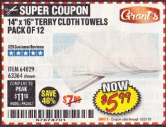 "Harbor Freight Coupon 14"" X 16"" TERRY CLOTH TOWELS PACK OF 12 Lot No. 64829/63364 Valid Thru: 10/31/19 - $5.99"