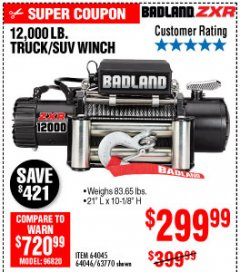 Harbor Freight Coupon 12,000 LB. TRUCK/SUV WINCH Lot No. 64045/64046/63770 Expired: 10/4/19 - $299.99