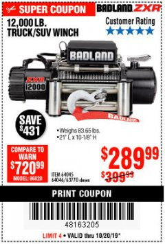 Harbor Freight Coupon 12,000 LB. TRUCK/SUV WINCH Lot No. 64045/64046/63770 Expired: 10/20/19 - $289.99