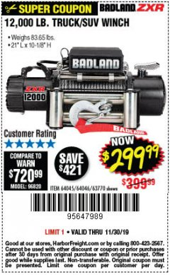 Harbor Freight Coupon 12,000 LB. TRUCK/SUV WINCH Lot No. 64045/64046/63770 Expired: 11/30/19 - $299.99