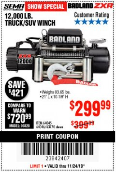 Harbor Freight Coupon 12,000 LB. TRUCK/SUV WINCH Lot No. 64045/64046/63770 Expired: 11/24/19 - $299.99