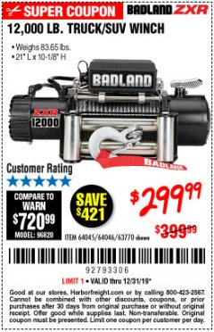 Harbor Freight Coupon 12,000 LB. TRUCK/SUV WINCH Lot No. 64045/64046/63770 Expired: 12/31/19 - $299.99