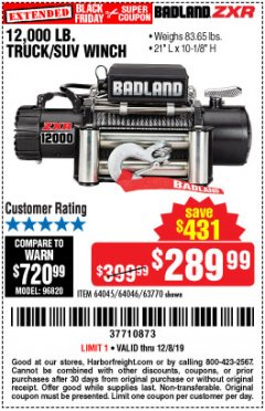 Harbor Freight Coupon 12,000 LB. TRUCK/SUV WINCH Lot No. 64045/64046/63770 Expired: 12/8/19 - $289.99