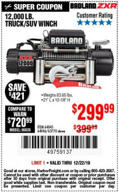 Harbor Freight Coupon 12,000 LB. TRUCK/SUV WINCH Lot No. 64045/64046/63770 Expired: 12/22/19 - $299.99