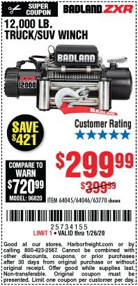 Harbor Freight Coupon 12,000 LB. TRUCK/SUV WINCH Lot No. 64045/64046/63770 Valid Thru: 1/26/20 - $299.99