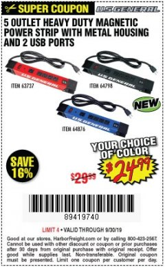 Harbor Freight Coupon 5 OUTLET HEAVY DUTY MAGNETIC POWER STRIP WITH METAL HOUSING AND 2 USB PORTS Lot No. 63737/64876/64798 Valid Thru: 9/30/19 - $24.99