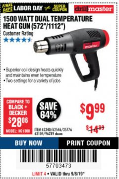 Harbor Freight Coupon 20V LITHIUM BAUER BLOWER Lot No. 64942 Expired: 10/31/19 - $49.99