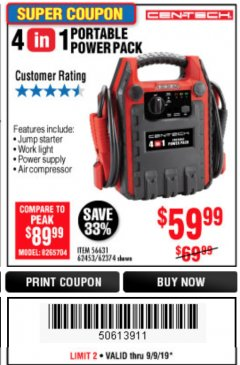 Harbor Freight Coupon 4 IN ONE PORTABLE POWER PACK Lot No. 56631/62453/62374 Expired: 9/9/19 - $59.99