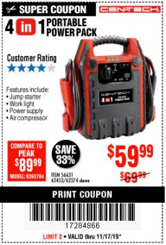 Harbor Freight Coupon 4 IN ONE PORTABLE POWER PACK Lot No. 56631/62453/62374 Expired: 11/17/19 - $59.99
