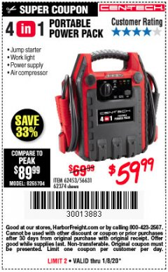Harbor Freight Coupon 4 IN ONE PORTABLE POWER PACK Lot No. 56631/62453/62374 Expired: 1/8/20 - $59.99