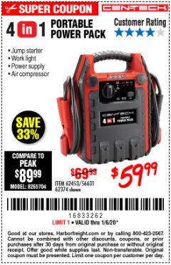 Harbor Freight Coupon 4 IN ONE PORTABLE POWER PACK Lot No. 56631/62453/62374 Expired: 1/6/20 - $59.99