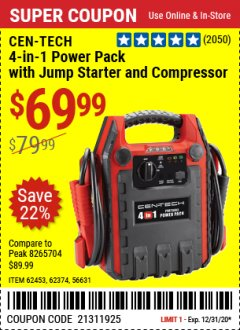 Harbor Freight Coupon 4 IN ONE PORTABLE POWER PACK Lot No. 56631/62453/62374 Expired: 12/31/20 - $69.99