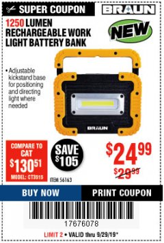 Harbor Freight Coupon 1250 LUMEN RECHARGEABLE WORK LIGHT BATTERY BANK Lot No. 56163 Expired: 9/29/19 - $24.99