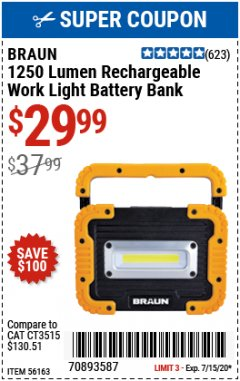 Harbor Freight Coupon 1250 LUMEN RECHARGEABLE WORK LIGHT BATTERY BANK Lot No. 56163 Valid Thru: 7/15/20 - $29.99