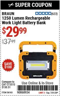 Harbor Freight Coupon 1250 LUMEN RECHARGEABLE WORK LIGHT BATTERY BANK Lot No. 56163 Valid Thru: 7/31/20 - $29.99