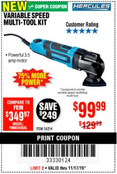 Harbor Freight Coupon 3.5 AMP PROFESSIONAL VARIABLE SPEED MULTI-TOOL KIT Lot No. 56214 Expired: 11/17/19 - $99.99