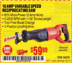 Harbor Freight Coupon BAUER 10 AMP VARIABLE SPEED RECIPROCATING SAW Lot No. 56250 Valid Thru: 10/31/19 - $59.99