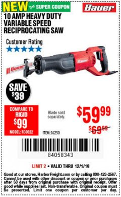 Harbor Freight Coupon BAUER 10 AMP VARIABLE SPEED RECIPROCATING SAW Lot No. 56250 Expired: 12/1/19 - $59.99