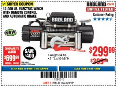 Harbor Freight Coupon 12,000 LB. ELECTRIC WINCH WITH REMOTE CONTROL AND AUTOMATIC BRAKE Lot No. 68142/61256/60813/61889 Expired: 6/3/18 - $299.99