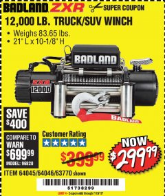 Harbor Freight Coupon 12,000 LB. ELECTRIC WINCH WITH REMOTE CONTROL AND AUTOMATIC BRAKE Lot No. 68142/61256/60813/61889 Expired: 7/19/19 - $299.99