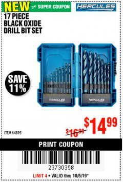 Harbor Freight Coupon 17 PIECE BLACK OXIDE DRILL BIT SET Lot No. 64895 Expired: 10/6/19 - $14.99
