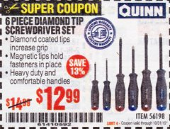Harbor Freight Coupon 6 PIECE DIAMOND TIP SCREWDRIVER SET Lot No. 56198 Expired: 10/31/19 - $12.99