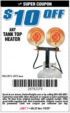 Harbor Freight Coupon $10 OFF ANY TANK TOP HEATER Lot No. 63072 Expired: 1/8/20 - $0