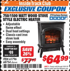 Harbor Freight ITC Coupon 750/1500 WATT WOOD STOVE STYLE ELECTRIC HEATER Lot No. 61796/68754 Expired: 10/31/19 - $64.99