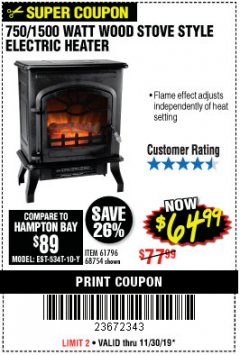 Harbor Freight Coupon 750/1500 WATT WOOD STOVE STYLE ELECTRIC HEATER Lot No. 61796/68754 Expired: 11/30/19 - $64.99