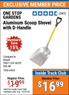 Harbor Freight ITC Coupon ALUMINUM SCOOP SHOVEL WITH D-HANDLE Lot No. 64923/69824 Expired: 10/31/20 - $16.99