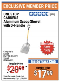 Harbor Freight ITC Coupon ALUMINUM SCOOP SHOVEL WITH D-HANDLE Lot No. 64923/69824 Valid Thru: 1/28/21 - $17.99