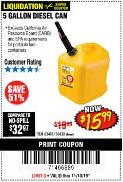Harbor Freight Coupon 5 GALLON DIESEL/ GAS CAN Lot No. 56420/63481/56419/67997 Expired: 11/10/19 - $15.99